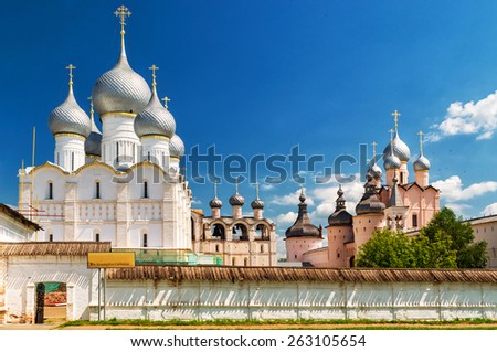 Old Orthodox church in the center of Rostov the Great, Golden Ring of Russia - stock photo