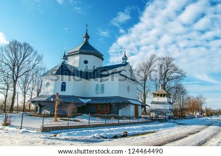old orthodox church in winter, Ukraine - stock photo