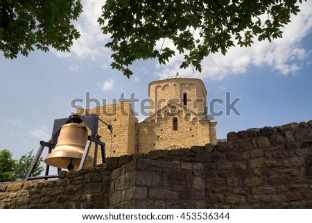 Old  orthodox Monastery Djurdjevi Stupovi in Serbia near Novi Pazar town - stock photo