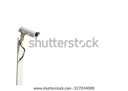 Old out door CCTV camera isolated on white background, with clipping paths