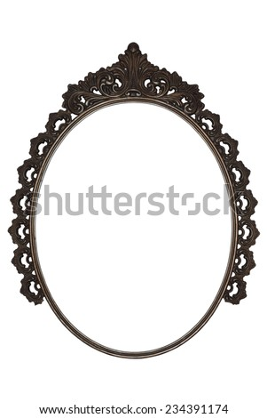 old oval picture frame metal worked on white background - stock photo