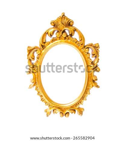Old oval shape frame on white isolated. - stock photo