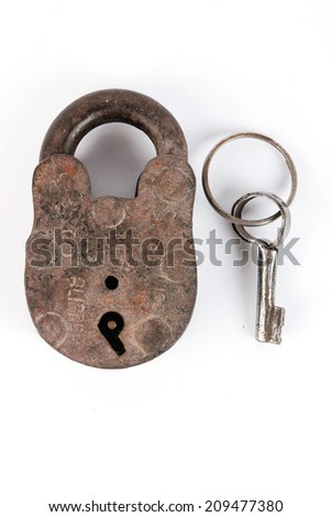 Old padlock and key. Isolated with clipping path - stock photo