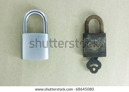 Old padlock isolated