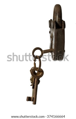 old padlock with key on white background close-up