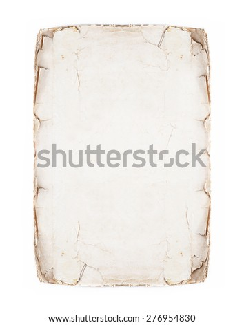 old page isolated on white; antique parchment. - stock photo