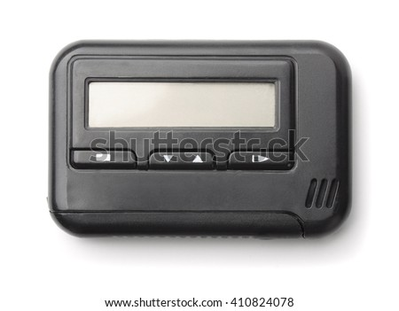 Old pager isolated on white - stock photo