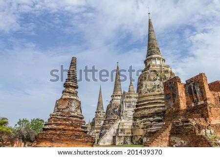 Old pagoda at Ayutthaya province in Thailand - stock photo