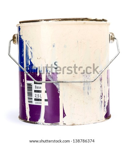Old paint tin isolated on white - stock photo