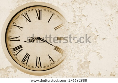 Old painted wall with clock background