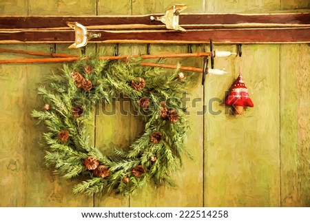 Old pair of skis hanging with wreath against green wood/ digital painting