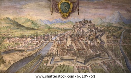 old palace.Florence.Old mural - stock photo