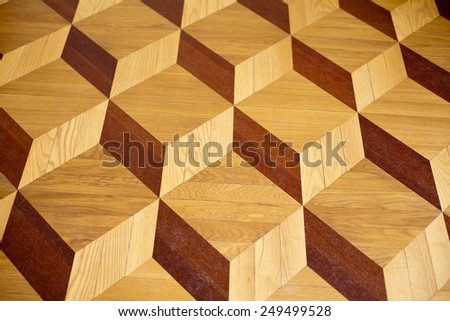 old palace wooden parquet flooring design with volume cubes illusion - stock photo