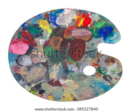 Old pallette isolated on a white background - stock photo
