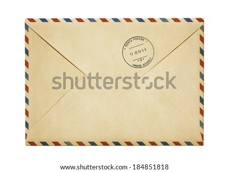 old paper air post mail envelope isolated on white - stock photo