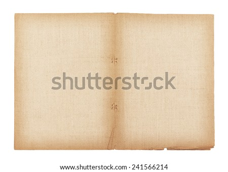 old paper and linen texture isolated on white background , with clipping path - stock photo