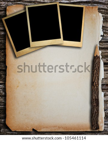 Old paper and old photo frame for write and put image. - stock photo
