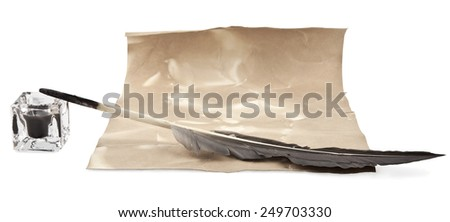 old paper and pen on a white background - stock photo