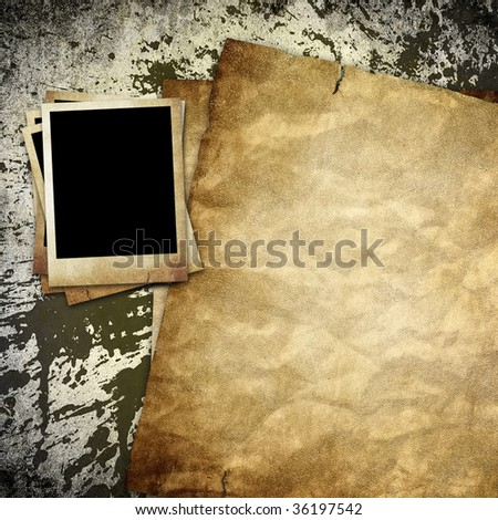 old paper and photo on grunge background - stock photo