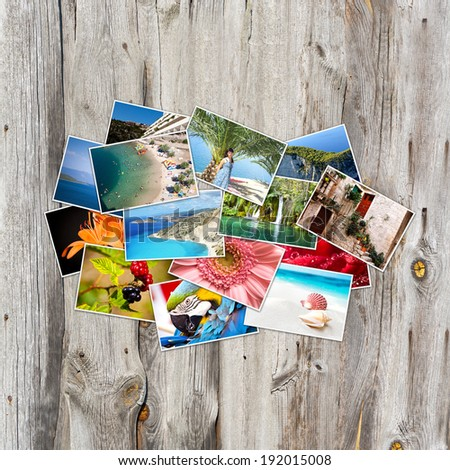 Old paper and photos. Objects over wooden planks. - stock photo