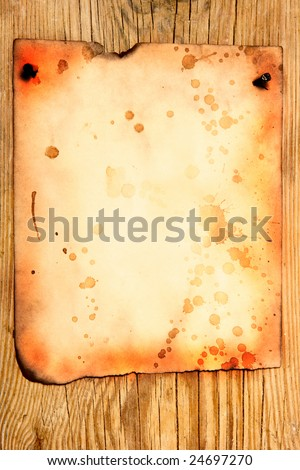 Old paper attached to wooden wall, may be used as background - stock photo