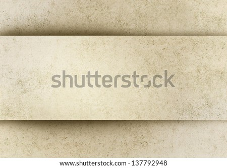 Old paper background with banner in relief - stock photo