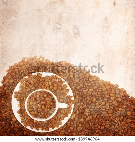 Old paper background with coffee mug border - stock photo