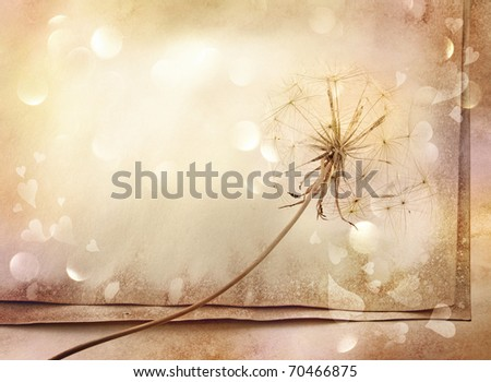 old paper background with dandelion, sparkles and hearts - stock photo