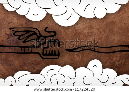 old paper background with snake. Maya style - stock photo