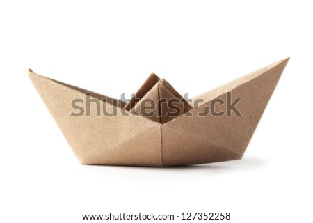 old paper boat isolated on white