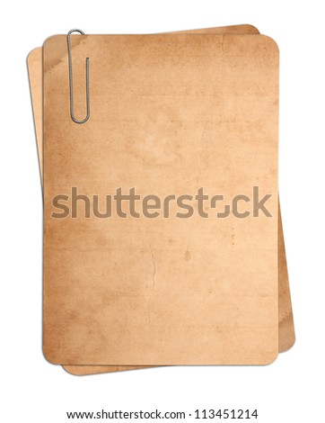 old paper cards with clip isolated on white - stock photo