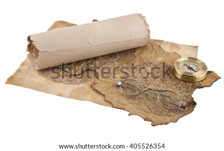 old paper, compass and old glasses isolated on white background closeup - stock photo