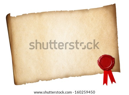 Old paper diploma or certificate parchment with wax seal isolated - stock photo