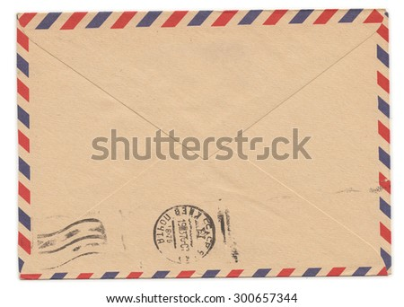 Old paper envelope with meter stamp on rear side - stock photo