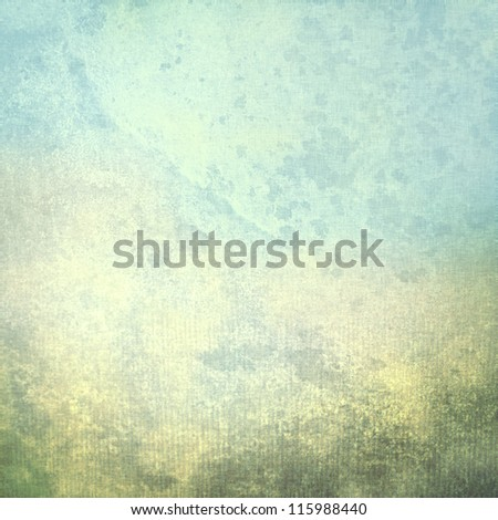 old paper grunge background with delicate cardboard texture wall stains and blue sky view painting - stock photo