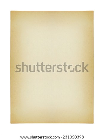 old paper isolated on white background , with clipping path - stock photo