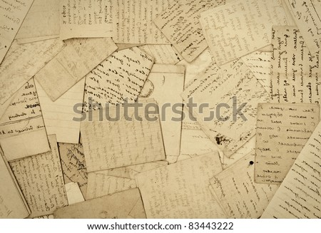 old paper, old letters, background - stock photo