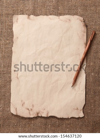 Old paper on a rough cloth