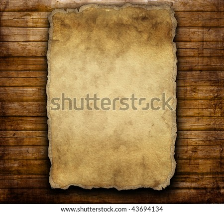 old paper on brown wooden texture - stock photo