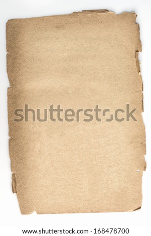Old paper on isolated white background