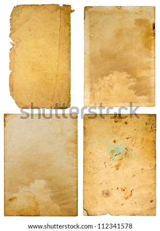 Old paper on white background , Four plates. - stock photo