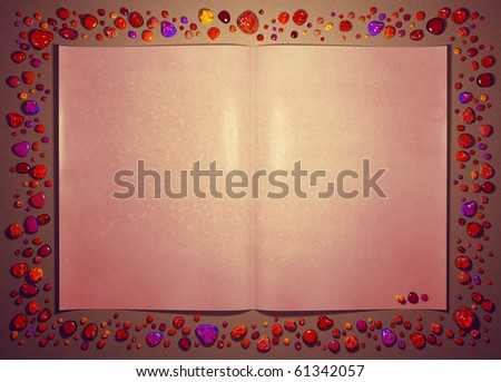 Old paper open sheet with gems on rough surface, 3d , jewels design background
