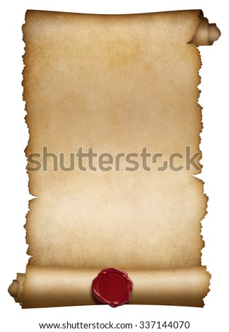 Old paper roll or manuscript with wax seal isolated - stock photo