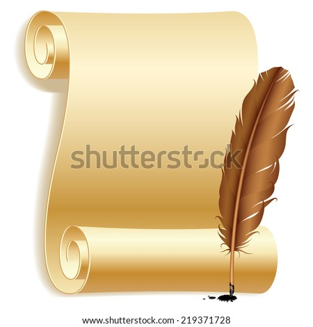 Old paper scroll and feather. - stock photo