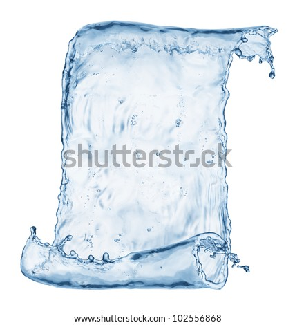 Old paper scroll made out of water splashes isolated on white - stock photo