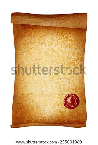 Old paper scroll with wax seal - stock photo