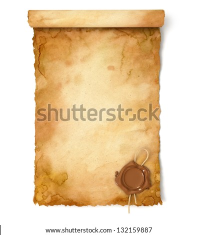 Old paper scroll with wax seal. Conceptual illustration. Isolated on white background. 3d render
