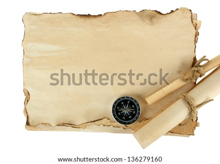 Old paper, scrolls and compass isolated on white - stock photo