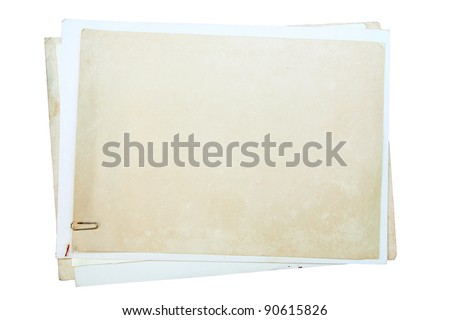 Old paper series on white background, with clipping paths - stock photo