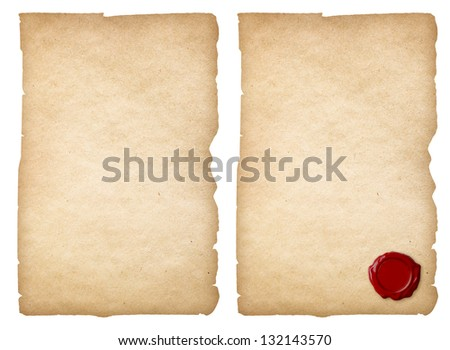 Old paper set with wax seal isolated. Clipping path is included. - stock photo